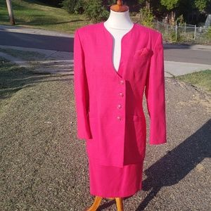Vintage NYPD Direct Pink Lady Skirt Suit